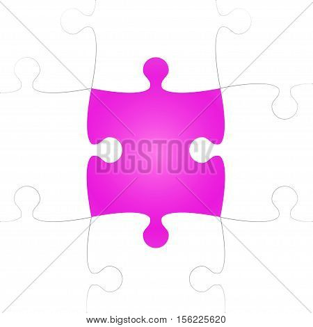 Vector Background made from White Puzzle Pieces with One Pink Missing. Piece Flat Puzzle Infographic Presentation. Step Circle Business. One Section Compare Service Banner.