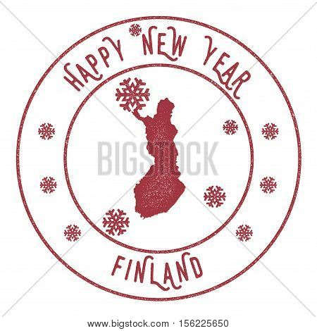Retro Happy New Year Finland Stamp. Stylised Rubber Stamp With County Map And Happy New Year Text, V