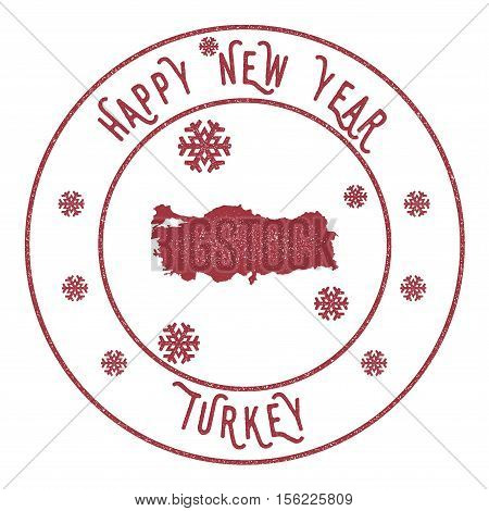 Retro Happy New Year Turkey Stamp. Stylised Rubber Stamp With County Map And Happy New Year Text, Ve