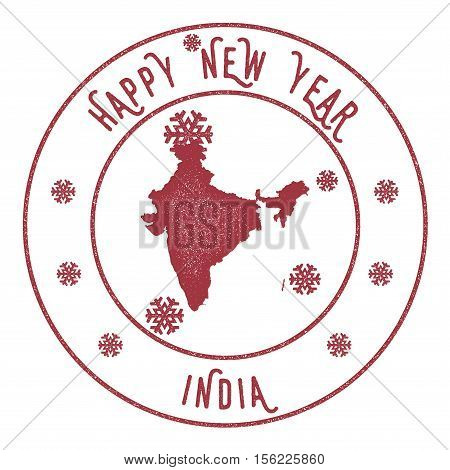 Retro Happy New Year India Stamp. Stylised Rubber Stamp With County Map And Happy New Year Text, Vec