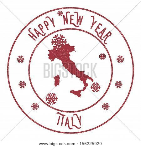 Retro Happy New Year Italy Stamp. Stylised Rubber Stamp With County Map And Happy New Year Text, Vec
