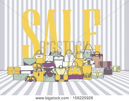 Horizontal illustration with plenty of various bags and large word SALE on stripy white and grey background. Vector stylish illustration with yellow and purple accents. Accessories are hand drawn.