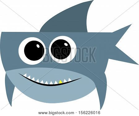 Shark with open mouth. Shark isolation on a white background. Flat vector illustration