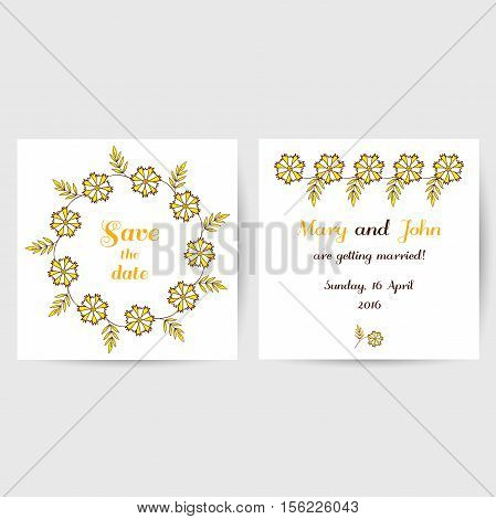 Wedding invitation with hand drawn yellow flowers on white background. Vector illustration.