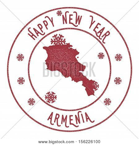 Retro Happy New Year Armenia Stamp. Stylised Rubber Stamp With County Map And Happy New Year Text, V