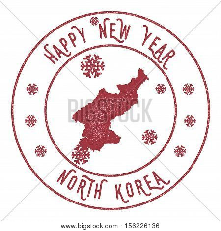 Retro Happy New Year Korea, Democratic People's Republic Of Stamp. Stylised Rubber Stamp With County