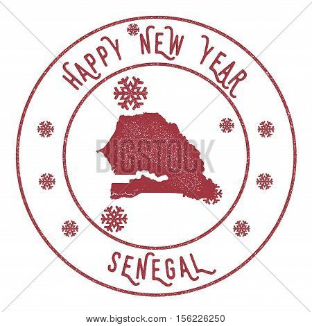 Retro Happy New Year Senegal Stamp. Stylised Rubber Stamp With County Map And Happy New Year Text, V
