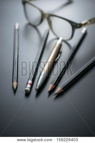 Group Of Pencils On Blackboard Focus At Pencil Eraser, Concept Sign For Misconduct Of Management Mis