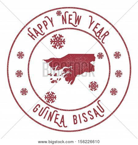 Retro Happy New Year Guinea-bissau Stamp. Stylised Rubber Stamp With County Map And Happy New Year T