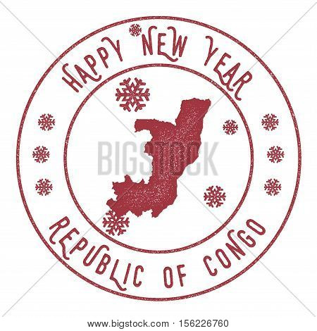 Retro Happy New Year Congo Stamp. Stylised Rubber Stamp With County Map And Happy New Year Text, Vec