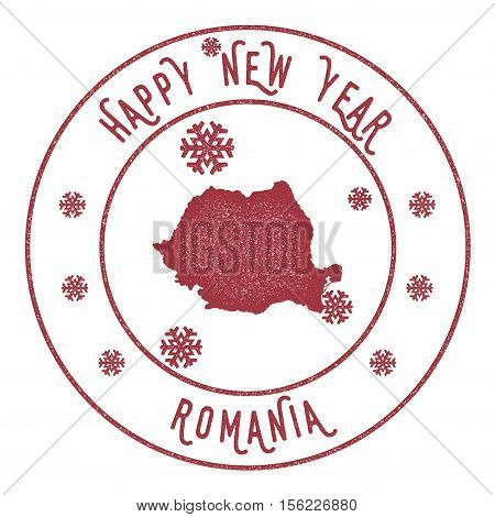 Retro Happy New Year Romania Stamp. Stylised Rubber Stamp With County Map And Happy New Year Text, V