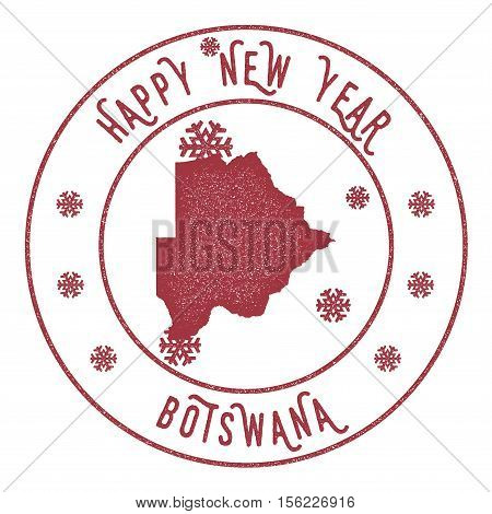 Retro Happy New Year Botswana Stamp. Stylised Rubber Stamp With County Map And Happy New Year Text,