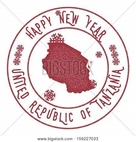 Retro Happy New Year Tanzania, United Republic Of Stamp. Stylised Rubber Stamp With County Map And H