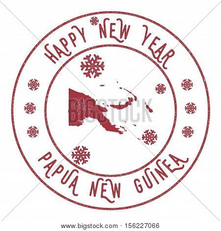 Retro Happy New Year Papua New Guinea Stamp. Stylised Rubber Stamp With County Map And Happy New Yea