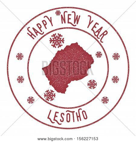 Retro Happy New Year Lesotho Stamp. Stylised Rubber Stamp With County Map And Happy New Year Text, V