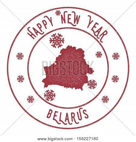 Retro Happy New Year Belarus Stamp. Stylised Rubber Stamp With County Map And Happy New Year Text, V