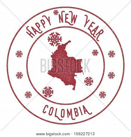 Retro Happy New Year Colombia Stamp. Stylised Rubber Stamp With County Map And Happy New Year Text,