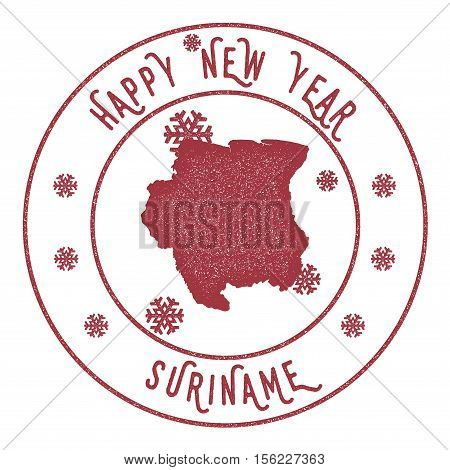 Retro Happy New Year Suriname Stamp. Stylised Rubber Stamp With County Map And Happy New Year Text,