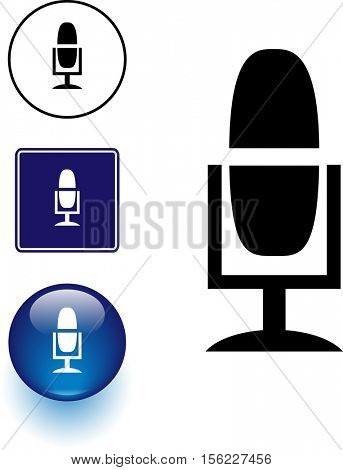 microphone symbol sign and button