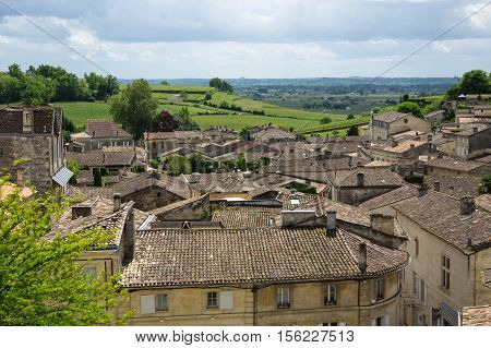 Saint-Emilion - one of the main red wine production areas of Bordeaux region France. The town is a UNESCO World Heritage site