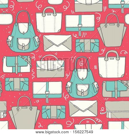 Seamless vector illustration with cute teal and grey handbags and clutches in fashion stylish pattern. Hand drawn background drawn with imperfections on pink background