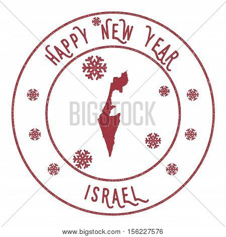 Retro Happy New Year Israel Stamp. Stylised Rubber Stamp With County Map And Happy New Year Text, Ve