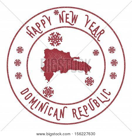 Retro Happy New Year Dominican Republic Stamp. Stylised Rubber Stamp With County Map And Happy New Y