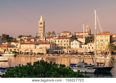 Rab Croatia - August 9 2015: View of the town of Rab Croatian tourist resort famous for its four bell towers.