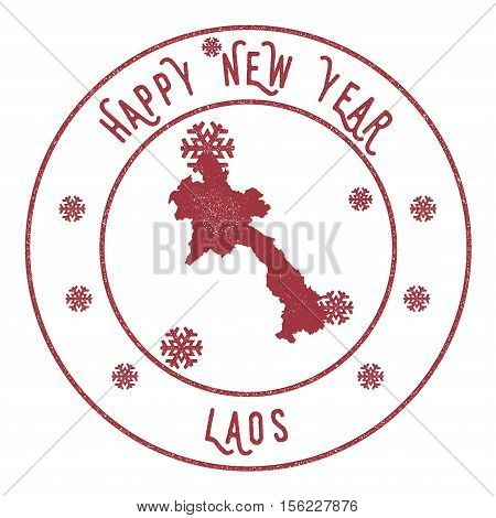 Retro Happy New Year Lao People's Democratic Republic Stamp. Stylised Rubber Stamp With County Map A