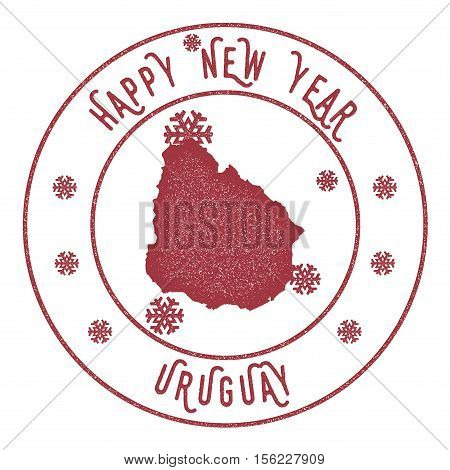 Retro Happy New Year Uruguay Stamp. Stylised Rubber Stamp With County Map And Happy New Year Text, V