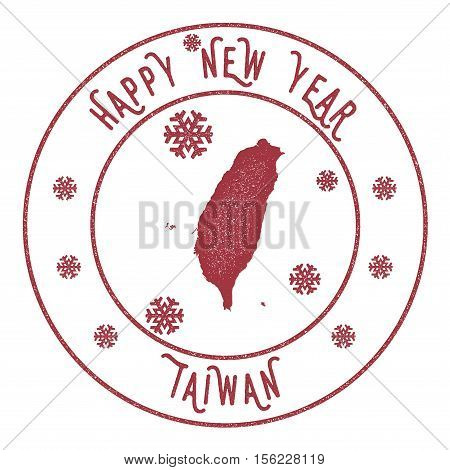 Retro Happy New Year Taiwan, Republic Of China Stamp. Stylised Rubber Stamp With County Map And Happ