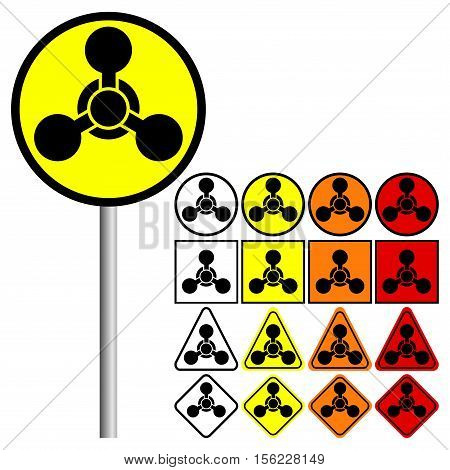 Chemical Weapons Symbol Icon with colors: red, orange, yellow, black