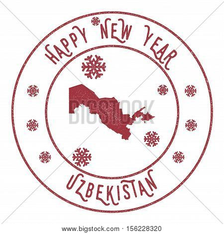 Retro Happy New Year Uzbekistan Stamp. Stylised Rubber Stamp With County Map And Happy New Year Text