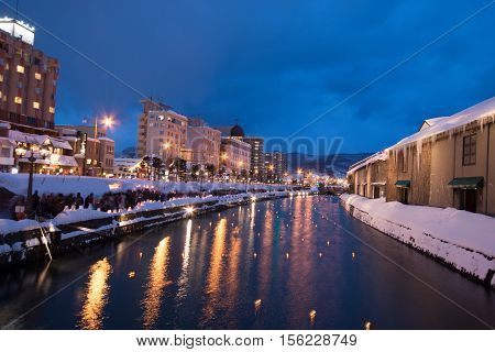 Night View And Light On Otaru Canal.