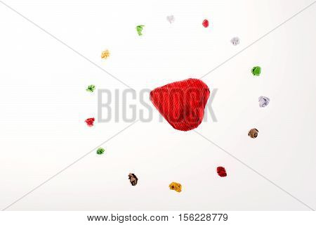Colorful Crumpled Paper  Form A Circle With Heart