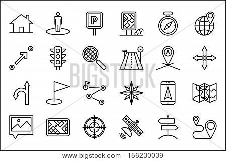 Navigation Thin Line Related Icons Set on White Background. Simple Mono Linear Pictogram Pack Stroke Vector Logo Concept for Web Graphics. Editable Stroke. 48x48 Pixel Perfect.