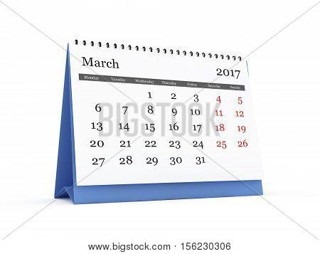 Desk Calendar 2017 March