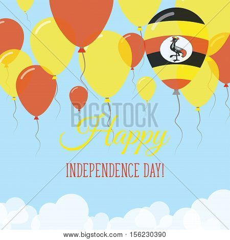 Uganda Independence Day Flat Greeting Card. Flying Rubber Balloons In Colors Of The Ugandan Flag. Ha