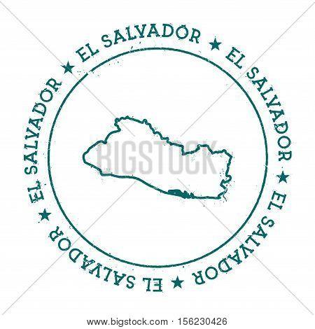 El Salvador Vector Map. Retro Vintage Insignia With Country Map. Distressed Visa Stamp With El Salva