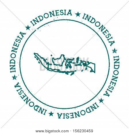 Indonesia Vector Map. Retro Vintage Insignia With Country Map. Distressed Visa Stamp With Indonesia