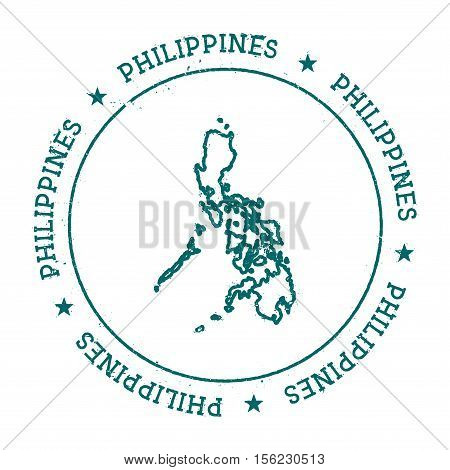 Republic Of The Philippines Vector Map. Retro Vintage Insignia With Country Map. Distressed Visa Sta