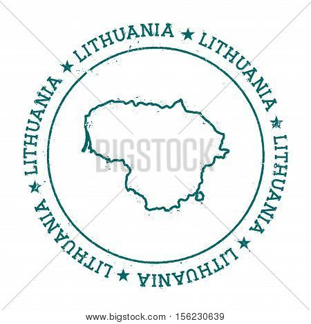 Lithuania Vector Map. Retro Vintage Insignia With Country Map. Distressed Visa Stamp With Lithuania