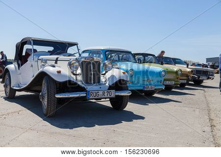 GRIMMEN / GERMANY - MAY 5 2016: antique cars stands on oldtimer show in grimmen / germany at may 5 2016.