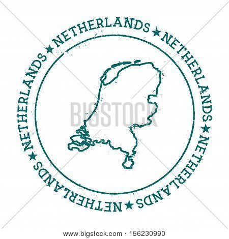 Kingdom Of The Netherlands Vector Map. Retro Vintage Insignia With Country Map. Distressed Visa Stam