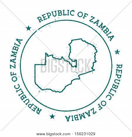 Republic Of Zambia Vector Map. Retro Vintage Insignia With Country Map. Distressed Visa Stamp With R