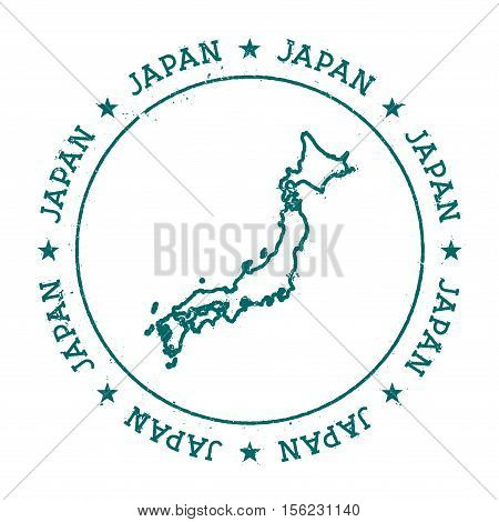 Japan Vector Map. Retro Vintage Insignia With Country Map. Distressed Visa Stamp With Japan Text Wra