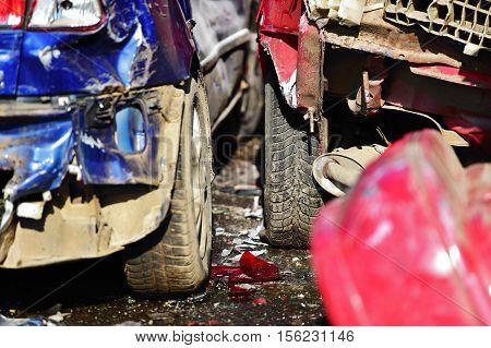 Detail with damaged cars after severe crash