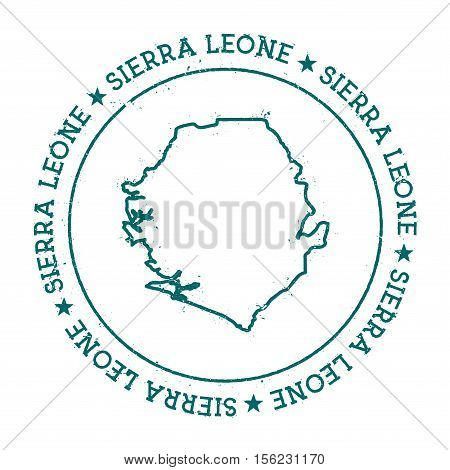Sierra Leone Vector Map. Retro Vintage Insignia With Country Map. Distressed Visa Stamp With Sierra