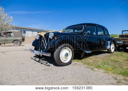 GRIMMEN / GERMANY - MAY 5 2016: citroen 11 cv stands on oldtimer show in grimmen / germany at may 5 2016.
