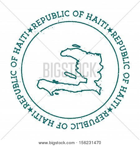 Haiti Vector Map. Retro Vintage Insignia With Country Map. Distressed Visa Stamp With Haiti Text Wra